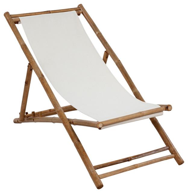 vidaXLBamboo and Canvas Deck Chair
