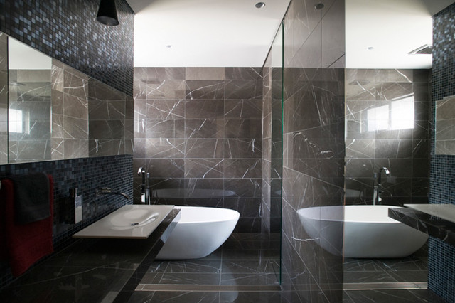 Pietra Grey Marble Bathroom With Stunning Bathroom