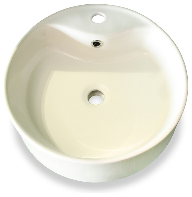 Beautiful White Round Ceramic Vessel Sink With Overflow Valve
