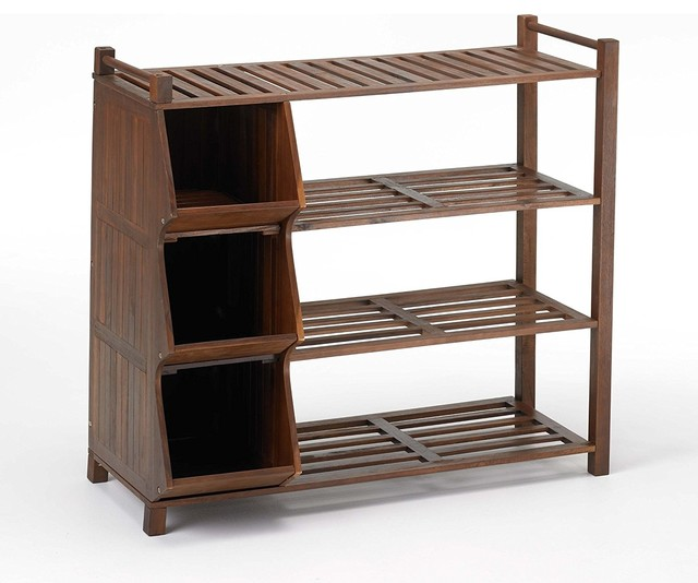 4 Tier Outdoor Shoe Rack And Cubby.
