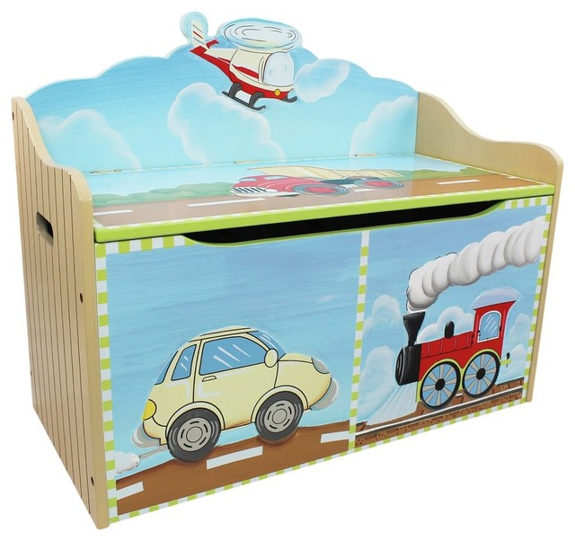 Transportation Handcrafted Wooden Kids Toy Box With Safety Hinge  Transitional Kids Storage Benches