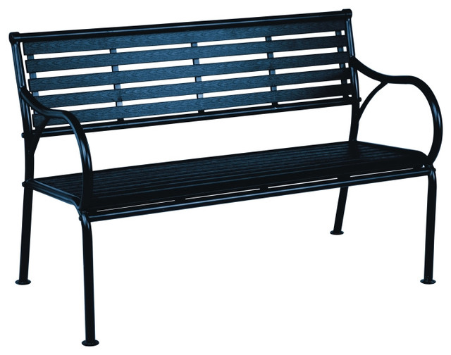 Super Living Accents 710 080 115 Polywood Steel Bench Black Gmtry Best Dining Table And Chair Ideas Images Gmtryco
