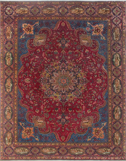 Vintage Distressed Lawton Red Blue Rug 9 11x12 10