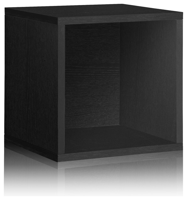 Stackable Large Vinyl Record Storage Cube, Tool Free Assembly Eco zBoard, Black