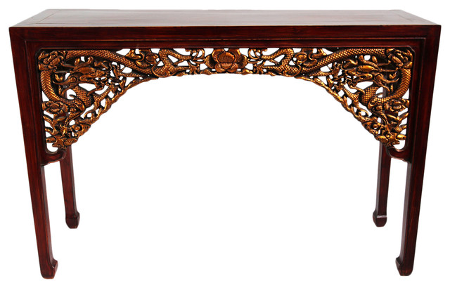 Carved Gold Dragon Console Table