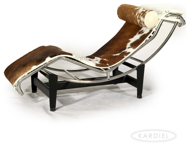 Kardiel le corbusier style lc4 chaise brown and white for Chaise lounge cowhide
