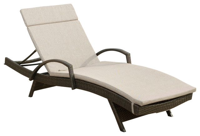 Ann Outdoor Wicker Adjustable Chaise Lounge, Arms With Cushion, Charcoal.