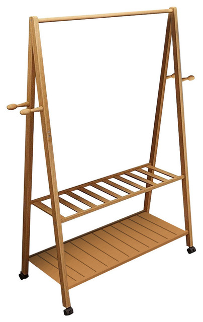 Contemporary 2-Tier Clothes Stand, Bamboo Wood With Caster Wheels, 4-Hook, 60 cm