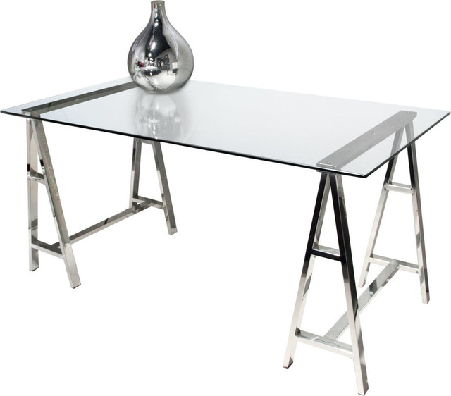 Deko Stainless Steel Desk With Clear, Tempered Glass Top - Contemporary - Desks And Hutches - by ...