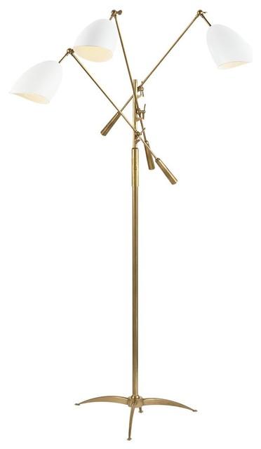 Visual Comfort Lighting Sommerard Triple Arm Floor Lamp, White.