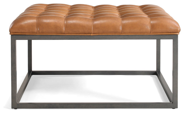 Superb Saddle Brown Leather Tufted Ottoman Ibusinesslaw Wood Chair Design Ideas Ibusinesslaworg
