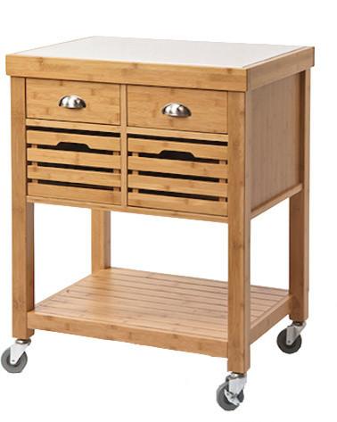 shop houzz boraam industries inc kenta bamboo kitchen aya bamboo kitchen cart with stainless steel top modern