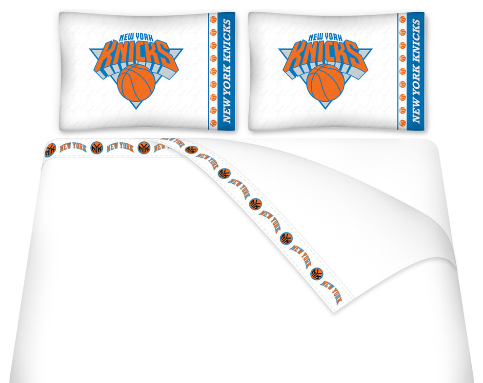 Nba New York Knicks Bed Sheets Set Basketball Bedding Contemporary Sheet And Pillowcase Sets By Sports Coverage