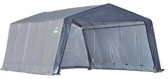 "12&x27;x20&x27;x8&x27; Peak Style Shelter, 1-3/8"" 6-Rib Frame, Gray Cover."