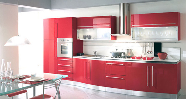 Red Lacquer Kitchen Cabinets - Rooms