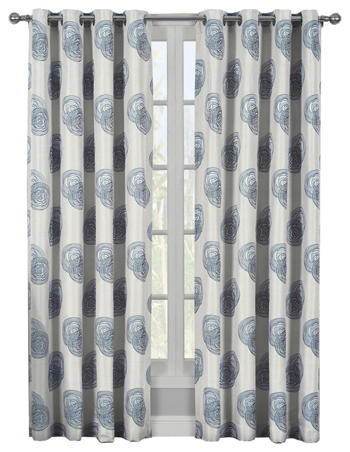 Navy Anchor Room Darkening Window Curtain Set
