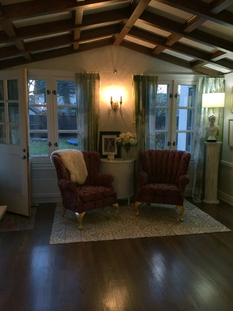 Living room - large cottage formal and enclosed dark wood floor living room idea with white walls and no tv