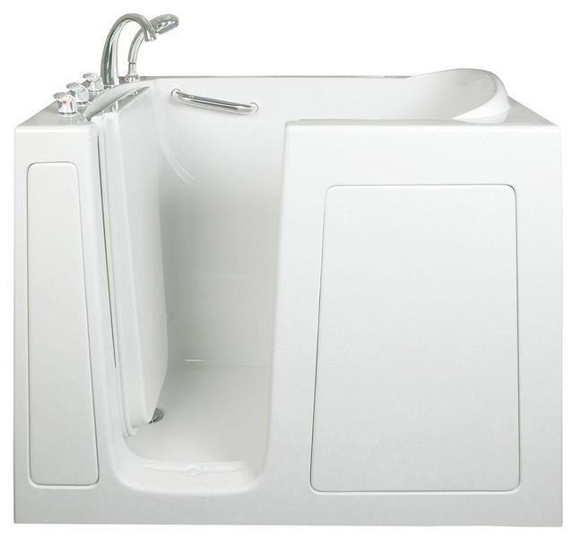 "Low Threshold 4.33&x27;x30"" Walk-In Soaking Bathtub, White With Right Drain."