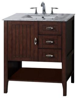 "Bellaterra 29"" Single Sink Bathroom Vanity, Sable Walnut, Cabinet Only"