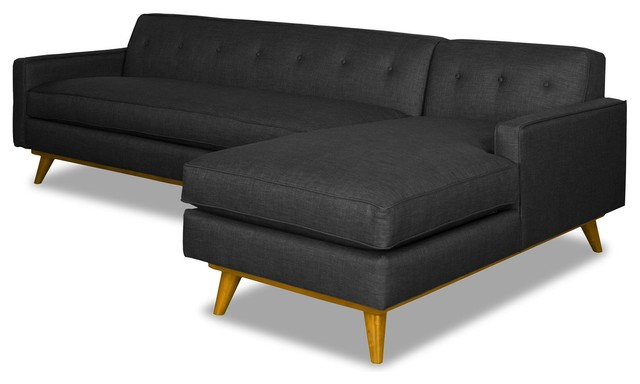 Clinton Ave 2-Piece Sectional Sofa, Coal, Chaise On Right.