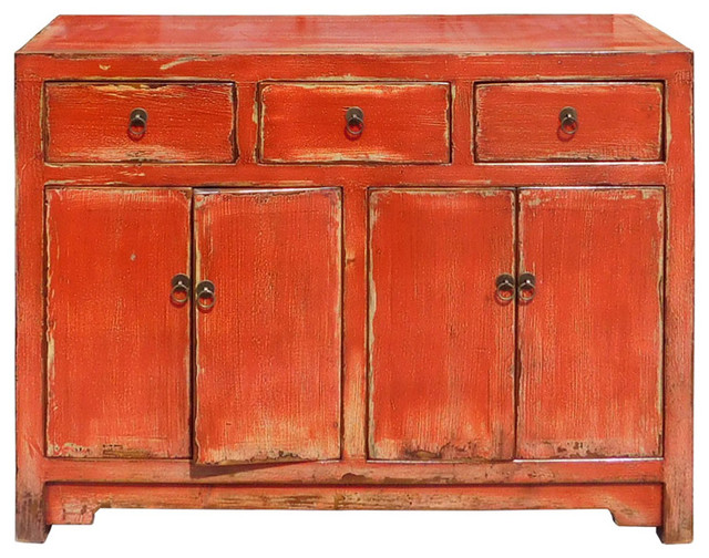 Chinese Distressed Rustic Orange Red Sideboard Buffet Table Cabinet Hcs1345  Asian Buffets And
