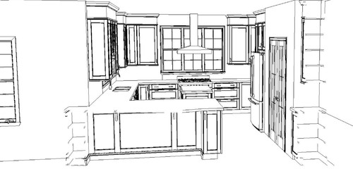 wanting a big window in kitchen  help with layout please