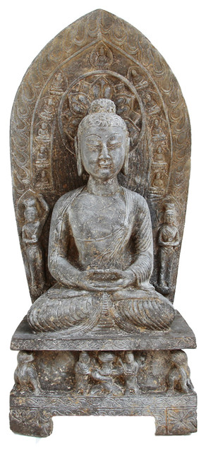 Stone Buddha Plaque Statue Asian Garden Statues And Yard Art By Design Mix Furniture Houzz