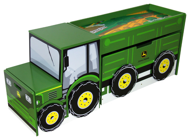 John Deere Tractor Toy Box Set Contemporary Kids Storage Benches And