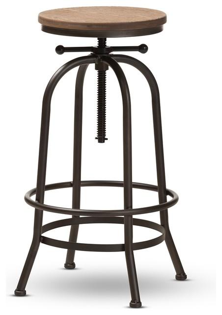 Enjoyable Vintage Industrial Style Wood Rustic Finished Steel Adjustable Swivel Bar Stool Frankydiablos Diy Chair Ideas Frankydiabloscom