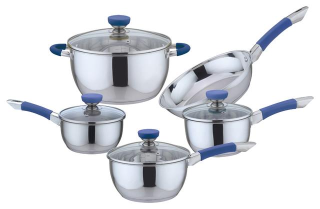 9-Piece Stainless Steel Cookware Set, Blue.
