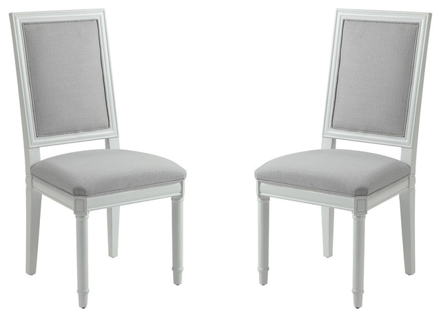 White Upholstered Dining Side Chairs Dove Gray Fabric