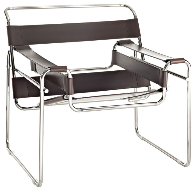 White heath vinyl lounge chair brown contemporary for Brown chaise lounge indoor