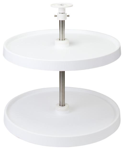 18 Diameter Round Plastic Lazy Susan Set 2 shelves