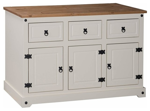 Traditional Sideboard, White Painted MDF With 3-Door and 3-Storage Drawer