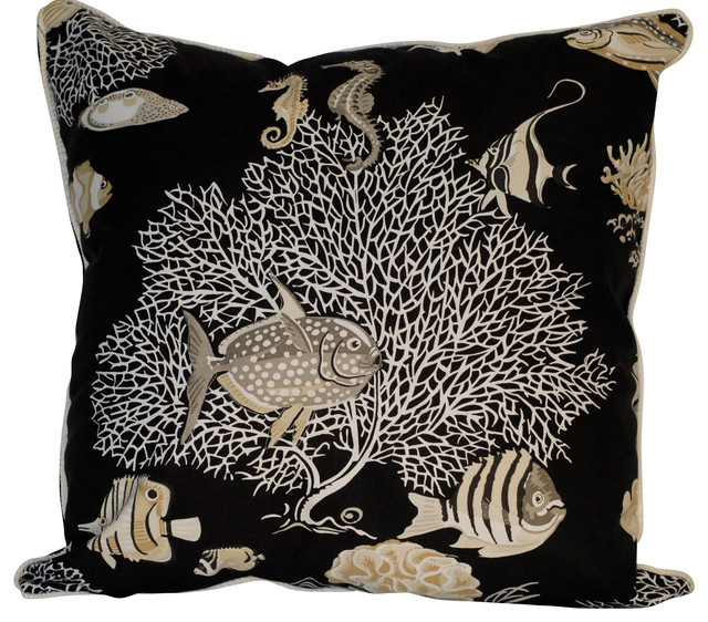 Nautical Fish Throw Pillow, Black - Tropical - Decorative Pillows - by Just The Right Pillow