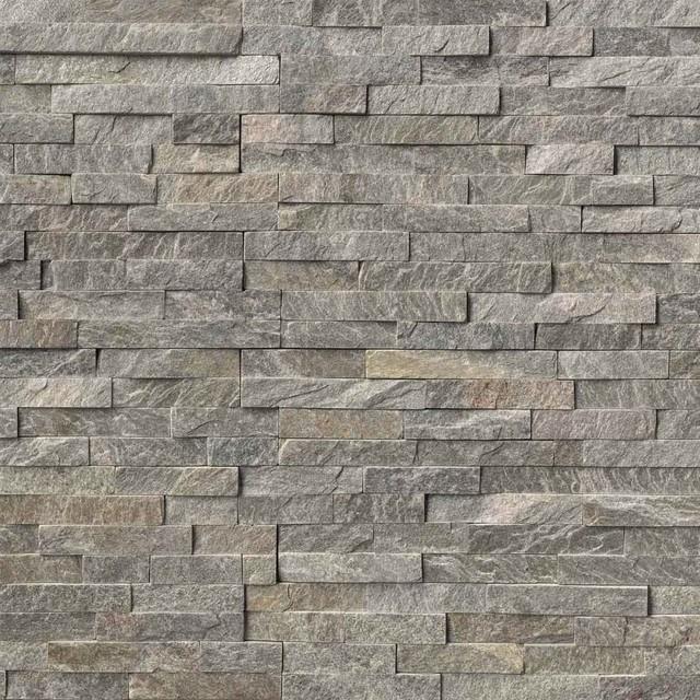 Sage Green Stacked Stone Split Face 6x18 Quartzite
