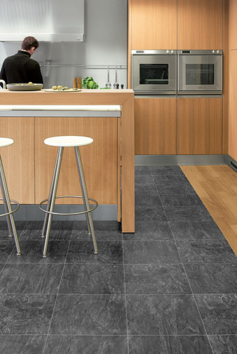 Quadra black opal tiles uf1018 contemporary for Quickstep kitchen flooring