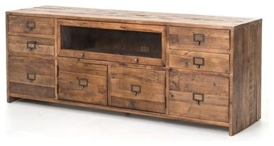 Four Hands Hughes 69 x 19 Bleached Pine Media Console - Farmhouse - Media Cabinets - by LuxeDecor