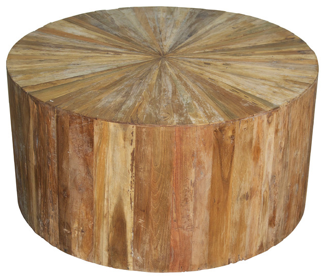 Round Teak Wood Coffee Table Transitional Coffee Tables by Noir