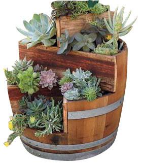 barrel planter natural finish rustic outdoor pots and planters