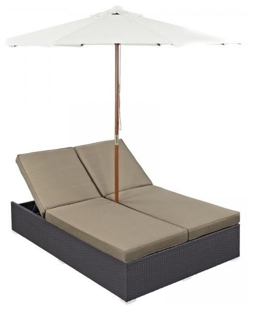 Modway Convene Patio Double Chaise Lounge With Umbrella, Mocha.