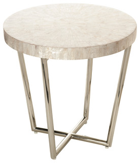 KOUBOO   Mosaic Side Table In Capiz Seashell   Side Tables And End Tables