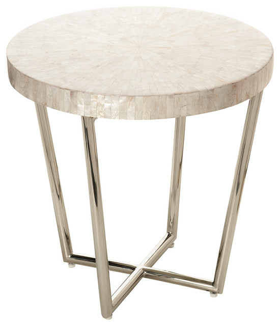 Mosaic Side Table In Capiz Seashell Contemporary Side Tables And End
