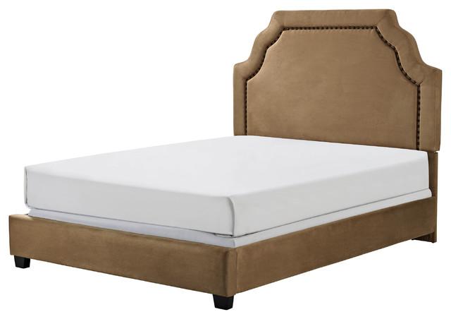 Loren Keyst1 Upholstered Queen Bedset, Camel Microfiber.