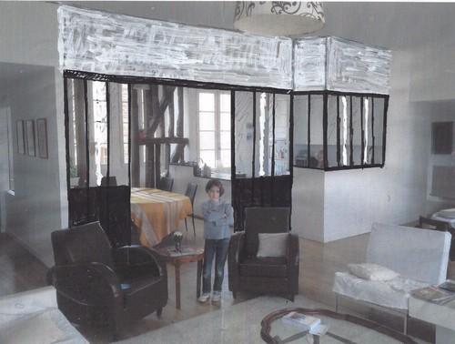 s parer la cuisine du salon avec une verri re. Black Bedroom Furniture Sets. Home Design Ideas