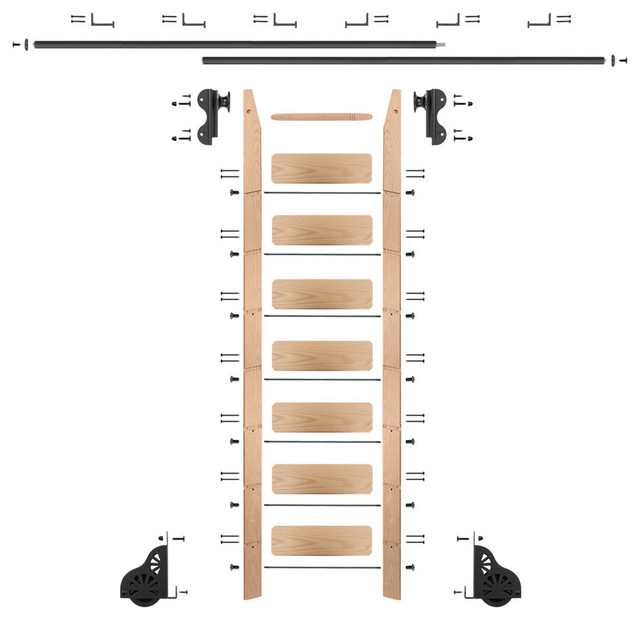 Rolling 8&x27; Red Oak Ladder Kit, Black, With 12&x27; Total Railing.
