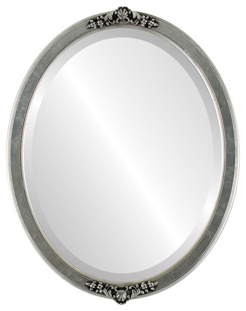 """Athena Framed Oval Mirror In Silver Leaf With Black Antique, 21""""x25""""."""