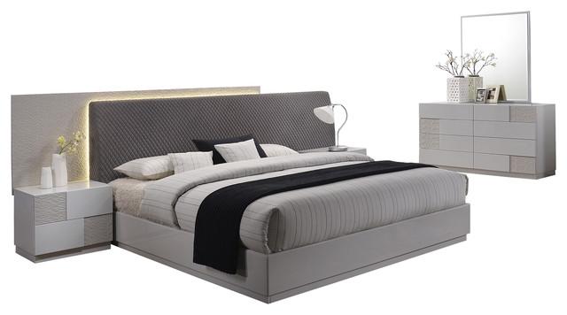 Naple, Silver Line Gray 5-Piece Modern Platform Bedroom Set, Cal King.