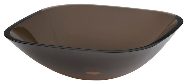 Ronbow Squared Tempered Glass Vessel Bathroom Sink, Transparent Tea Gray.