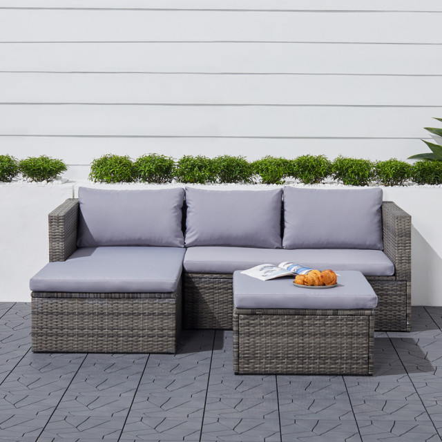 Outdoor Wicker Sectional Sofa With Seat, For Living 3 Piece Wicker Patio Sectional Set With Cushions